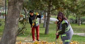 Tepebaşı parklarında sonbahar temizliği